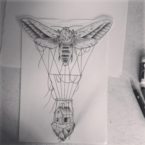 Grey-ink moth balloon keeping a small house on rock tattoo design