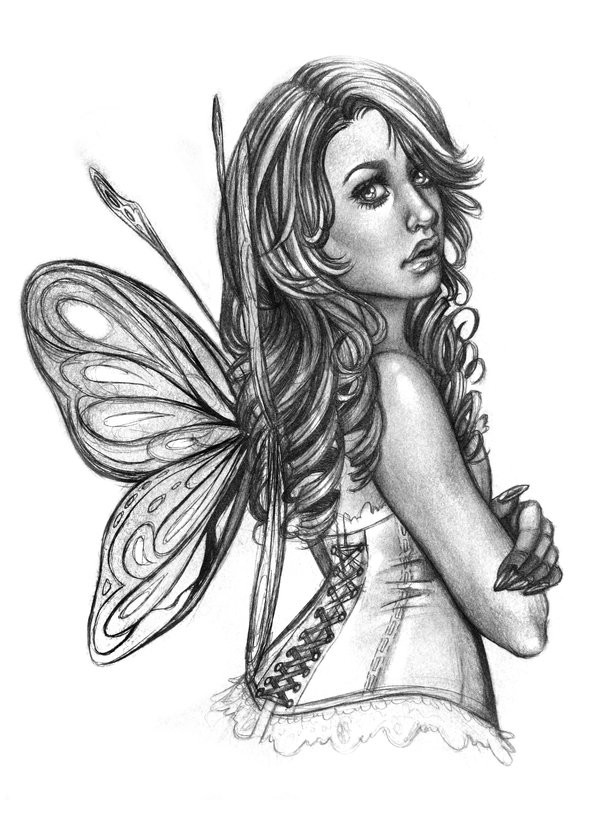 Grey-ink pencilwork fairy in corset from back tattoo design