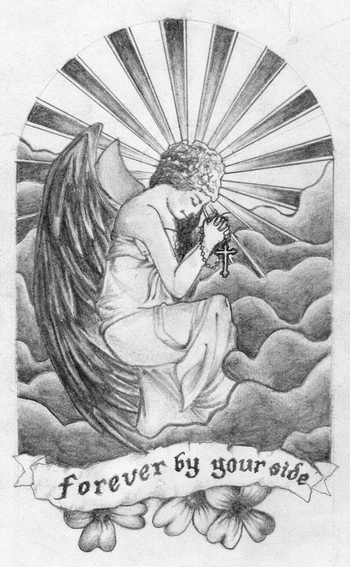 Grey-ink praying angel girl with a rosary and memorial stripe tattoo design by Mjhartley