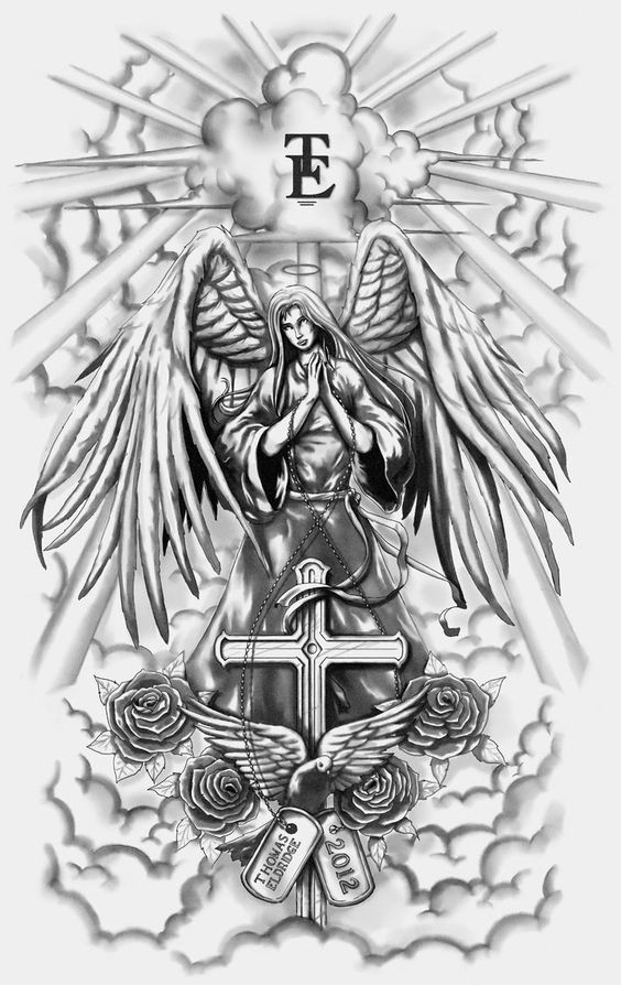 Grey-ink praying angel with a cross and dove decorated with roses tattoo design
