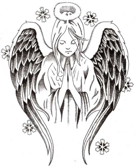 Grey-ink praying angel with falling snowflakes tattoo design