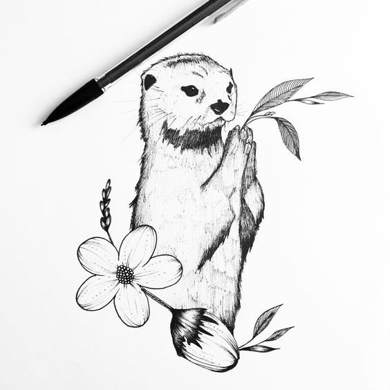Grey-ink praying rodent with flower tattoo design