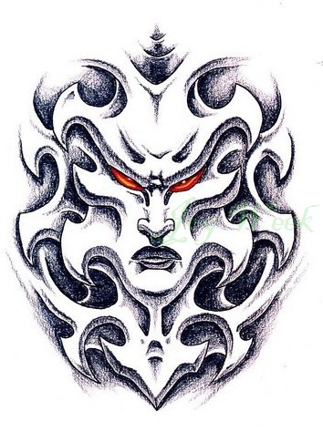 Grey-ink red-eyed demon face in flame tattoo design