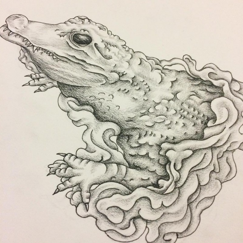Grey-ink reptile swimming in waves tattoo design