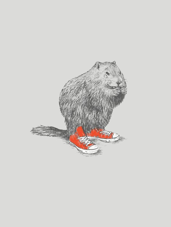 Grey-ink rodent in orange gumshoes tattoo design