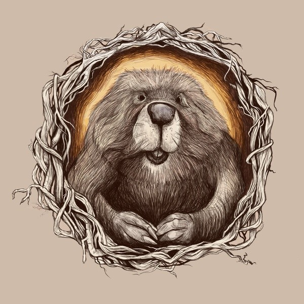 Grey-ink rodent portrait in branch frame tattoo design
