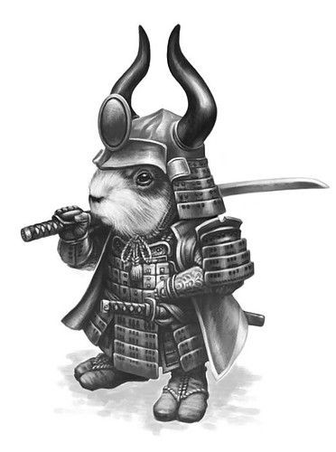 Grey-ink rodent warrior in chinese armour tattoo design