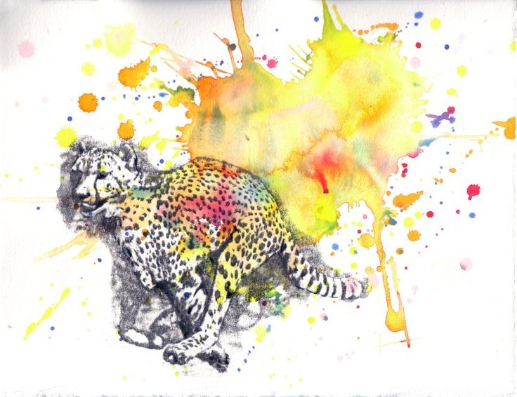 Grey-ink running cheetah on bright watercolor bakground tattoo design