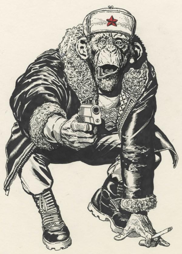 Grey-ink russian chimpanzee with gun tattoo design