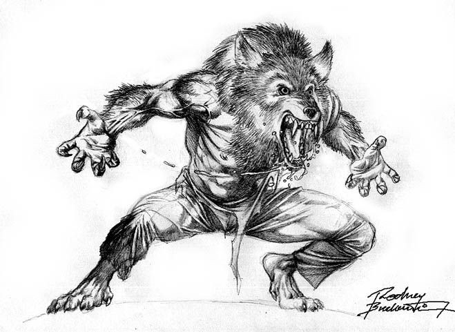 Grey-ink screaming werewolf wearing trousers tattoo design