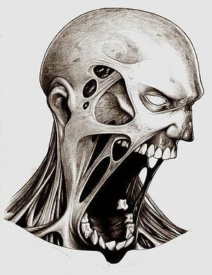 Grey-ink screaming zombie head tattoo design