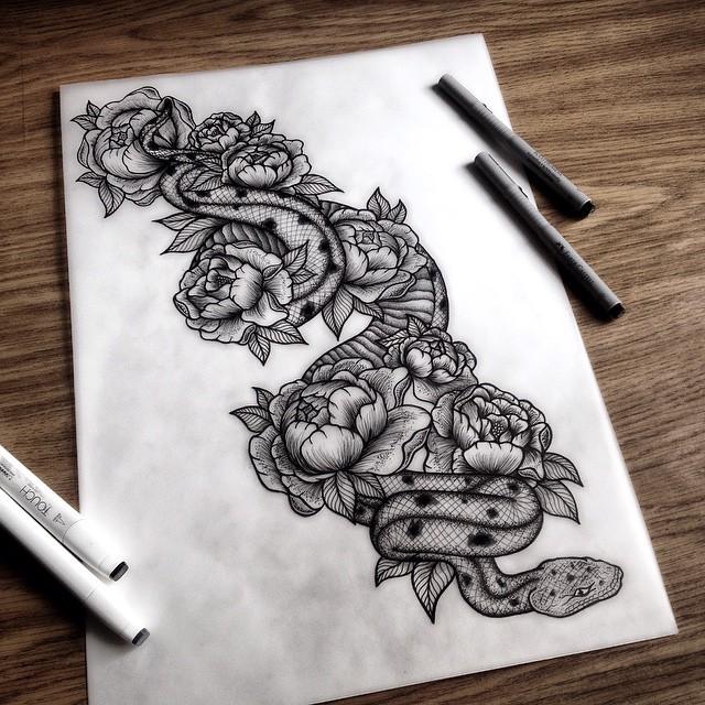 Grey-ink snake and big peony buds tattoo design