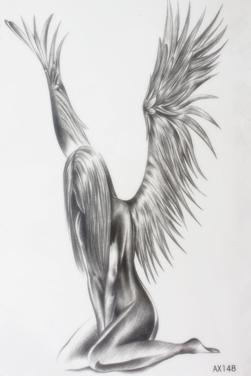 Grey-ink sorrowful angel sitting on knees tattoo design