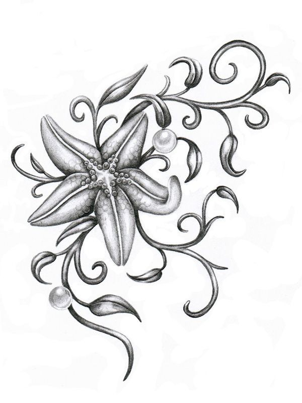 Grey-ink starfish with curled weeds and pearls tattoo design