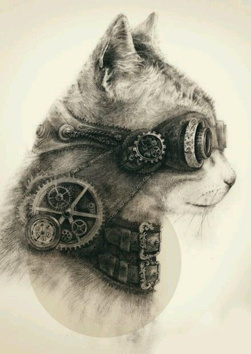 Grey-ink steampunk animal in profile tattoo design
