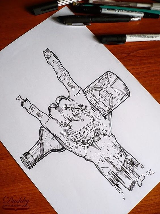 Grey-ink tattooed zombie hand keeping a bottle tattoo design