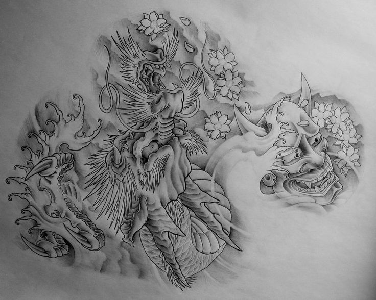 Grey-ink traditional devil head and a huge dragon tattoo design