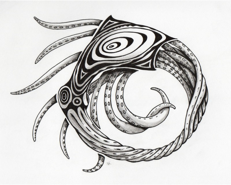 Grey-ink uroboros-style water animal tattoo design by Cow41087