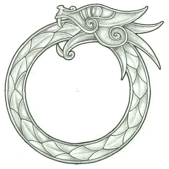 Grey-ink uroboros dragon tattoo design
