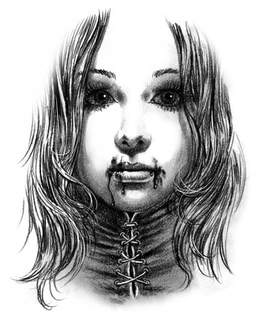 Grey Ink Vampire Girl With Bloody Lips And Sutured Neck Tattoo
