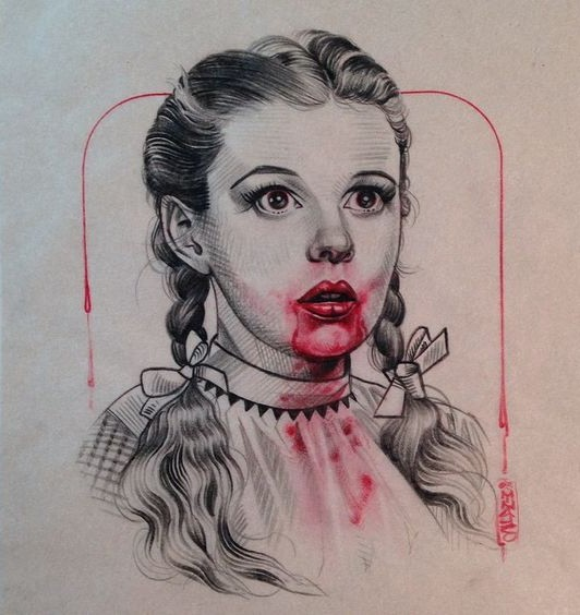Grey-ink vampire school girl with bloody mouth tattoo design