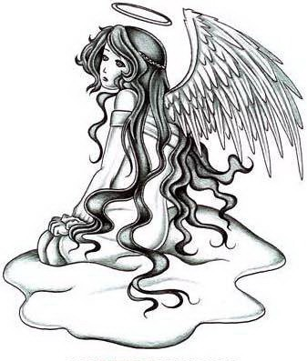 Grey-ink virgin angel with a nimbus sitting in the puddle tattoo design