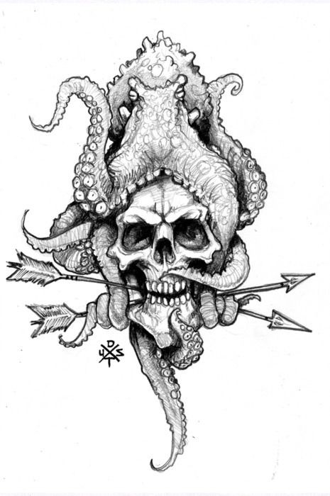 Grey-ink water animal sitting on skull with arrows tattoo design