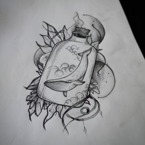 Grey-ink water animal swimming in glass bottle on floral background tattoo design