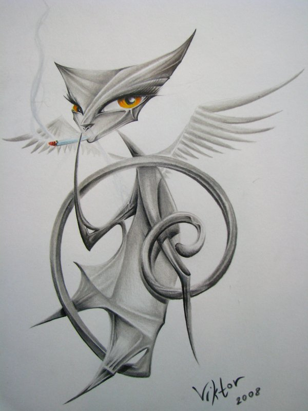 Grey-ink winged origami cat smoking a sigarette tattoo design