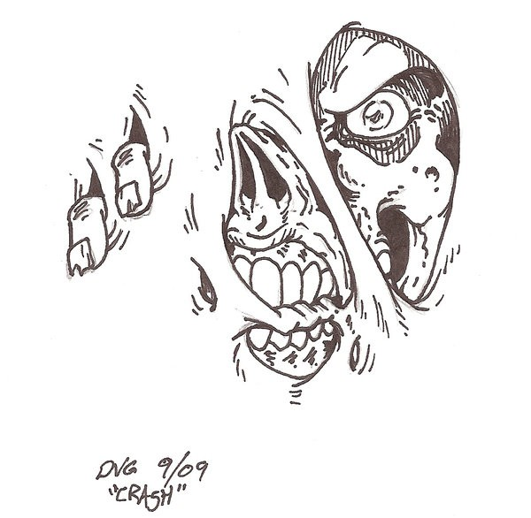 Grey-ink zombie face looking through the bakground scratches tattoo design by Crash2014