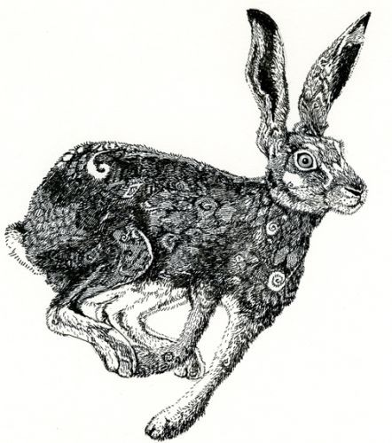 Grey-jumping hare with vacant look tattoo design