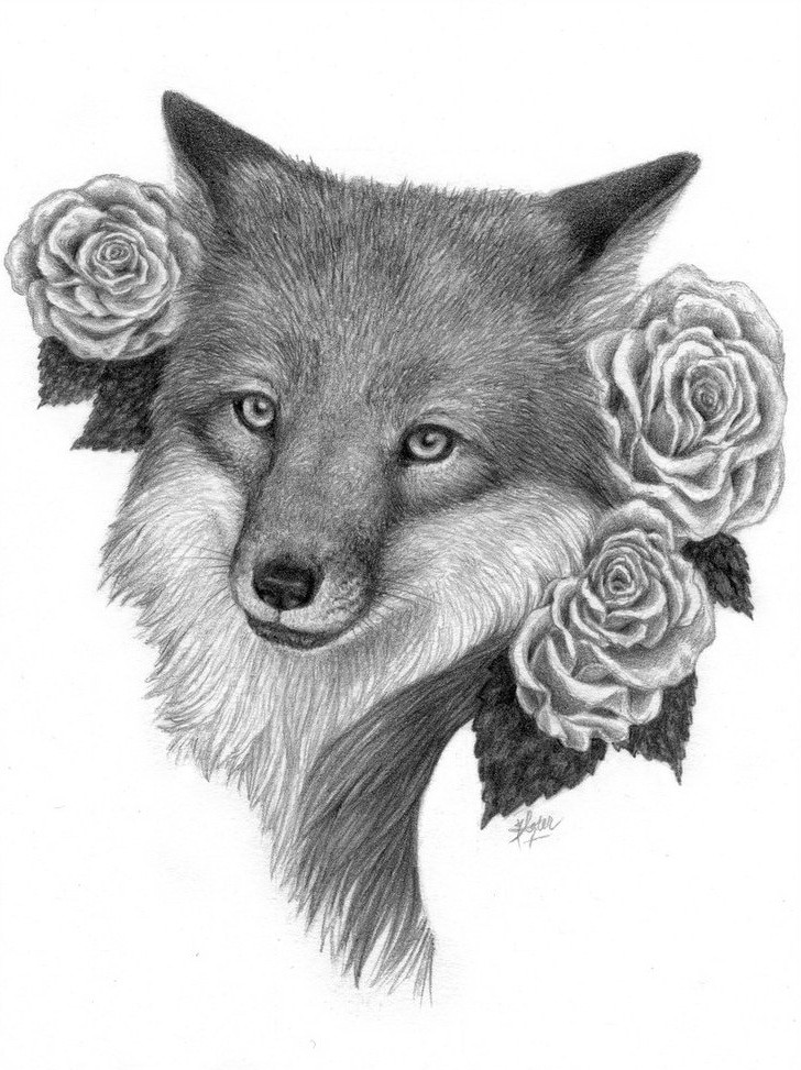 Grey-pencil fox portrait with roses tattoo design by Lisa Donovan