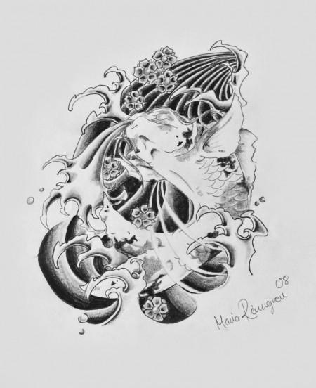 Grey Pencil Koi Fish Splashing In Water Tattoo Design By Maria