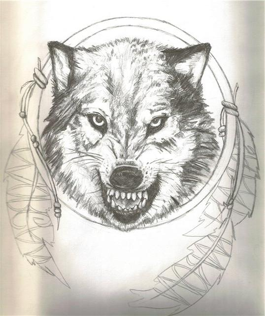 Grey-pencil snarling wolf head in dream catcher frame tattoo design