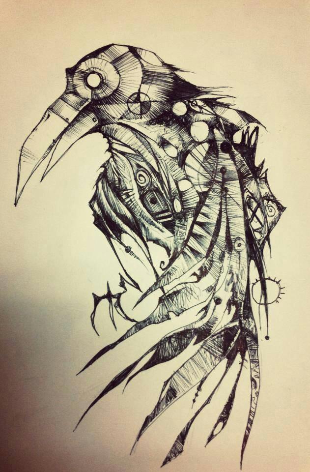 Grey-pencil steampunk raven tattoo design by Zoex Wolf