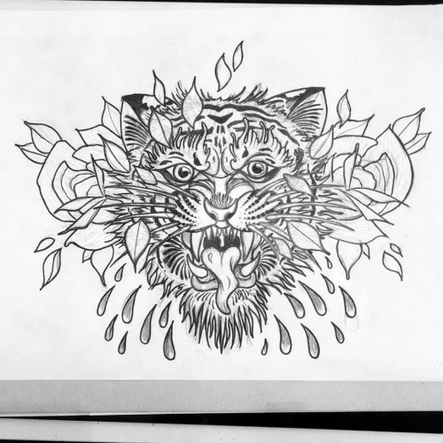 Grey-pencil tiger head with roses and water drops tattoo design