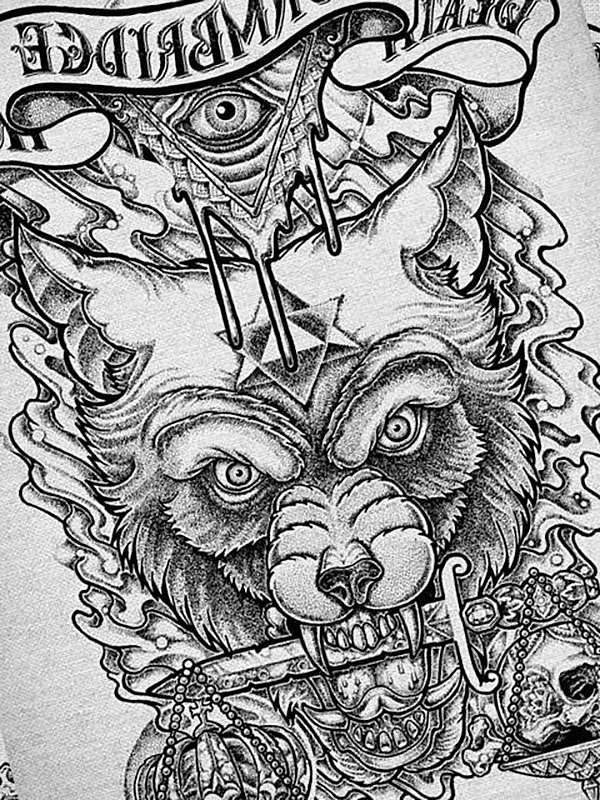 Grey-pencil wolf with a dagger in teeth and illuminati sign tattoo design