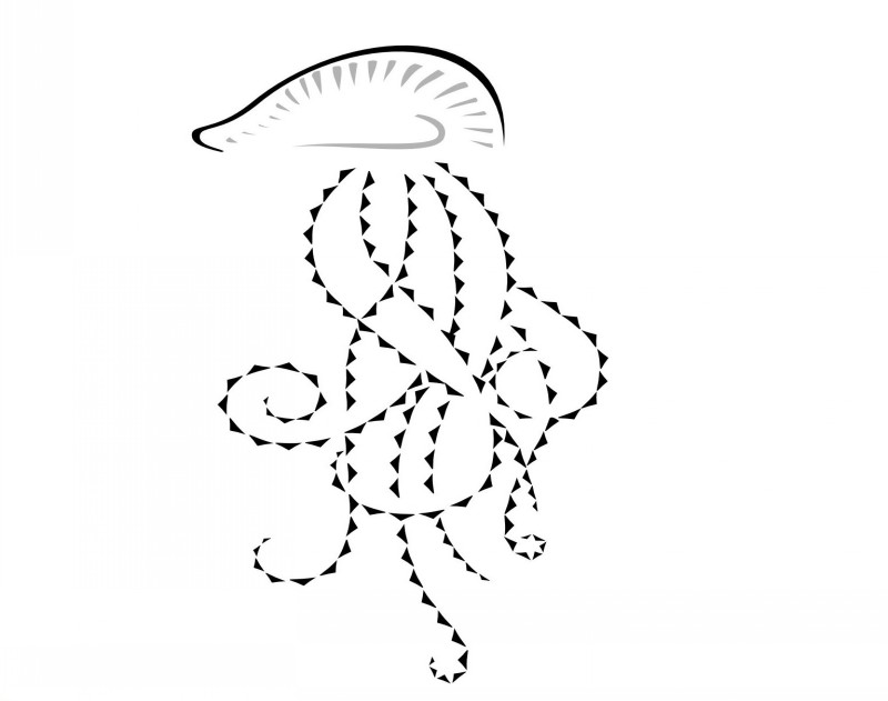 Grey-pring jellyfish head with geometric tentacles tattoo design