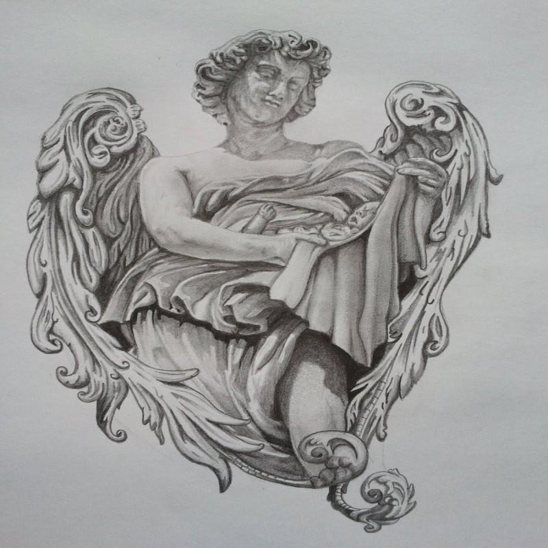 Grey angel boy statue keeping a baby tattoo design