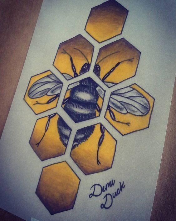 grey bee in yellow honeycomb mozaic tattoo design