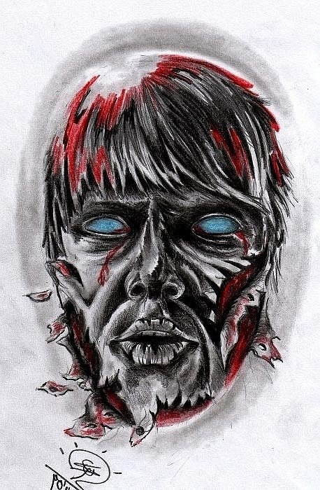 Grey blue-eyed blooded zombie head tattoo design