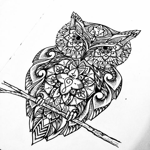 Grey buddhist owl sitting on branch tattoo design