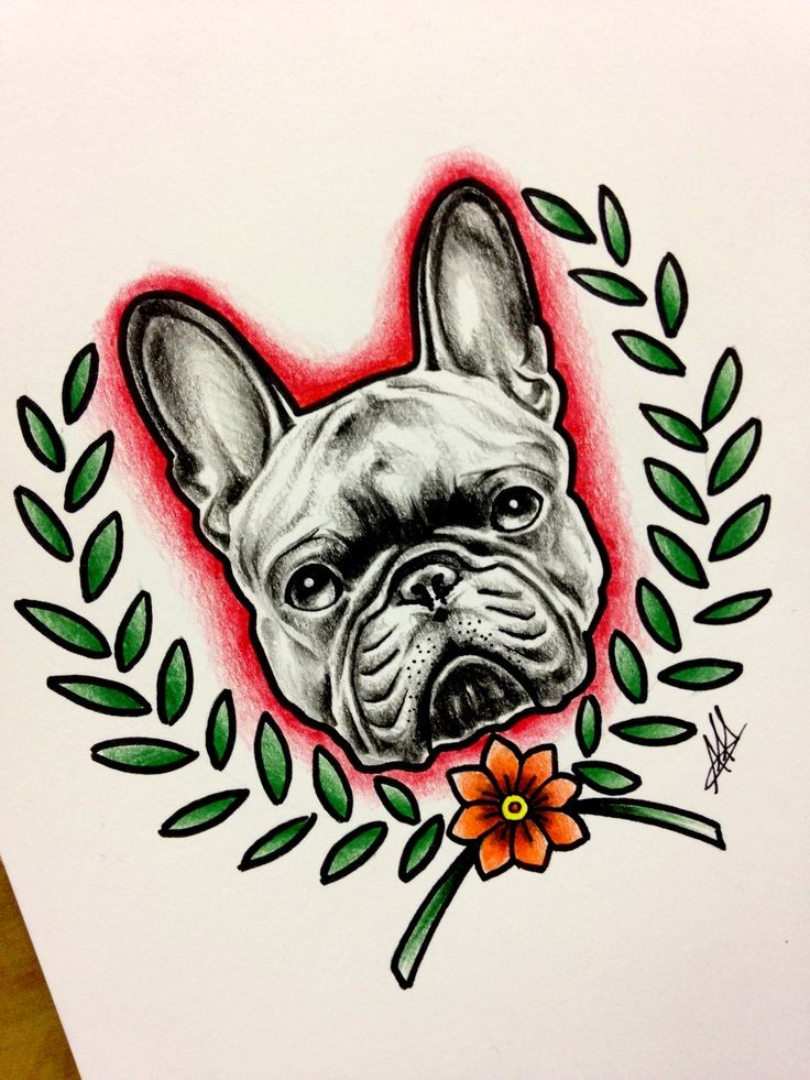 Grey bulldog head in red shining framed with leaved brancches tattoo design