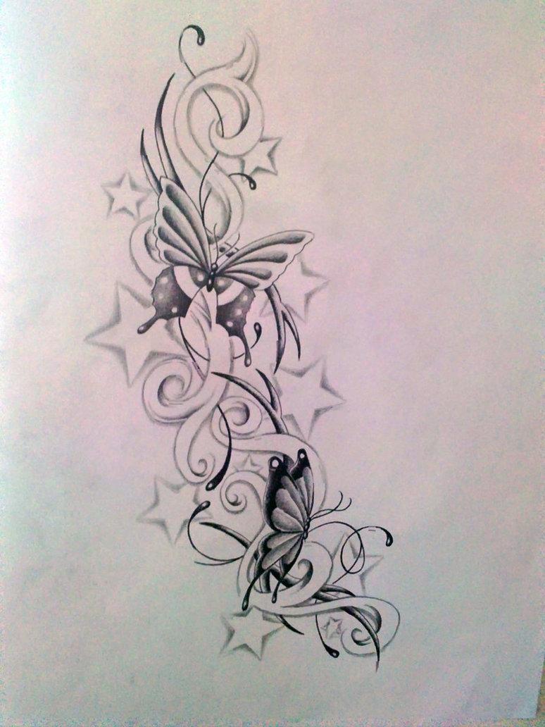 d9b2fcd11 Grey butterflies flying among curls and stars tattoo design -  Tattooimages.biz