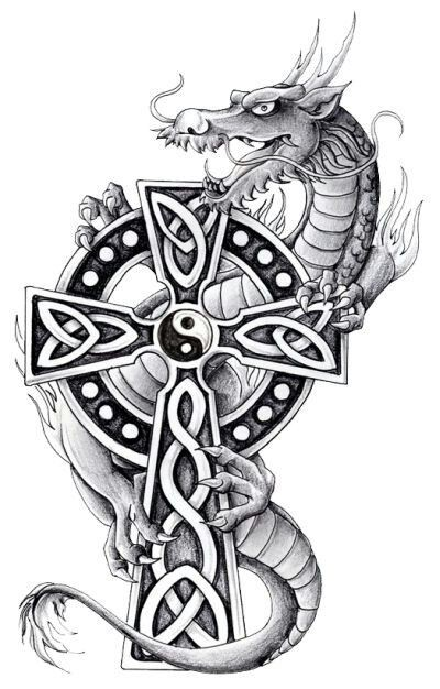 Grey cartoon dragon and celtic cross tattoo design