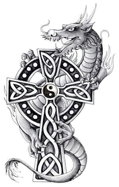 Grey cartoon dragon and celtic cross tattoo design