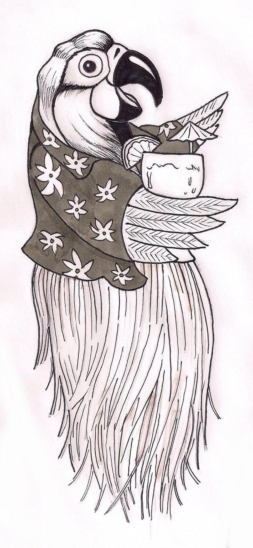 Grey cartoon parrot in hawaiian shirt with cup tattoo design by Dark Lighter Digital