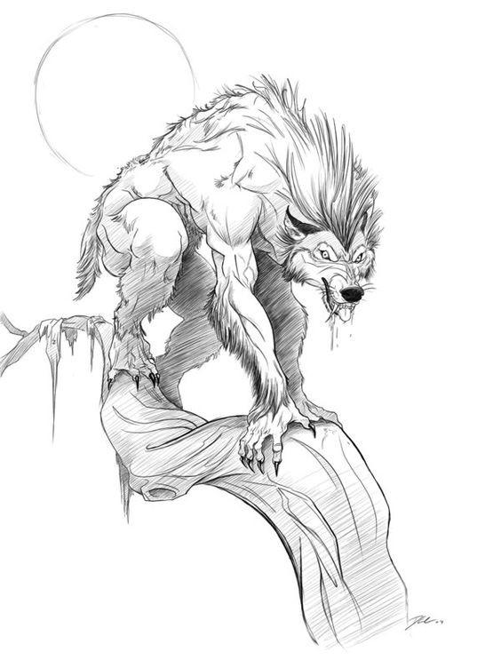 Grey cartoon werewolf sitting on a tree branch on full moon background tattoo design