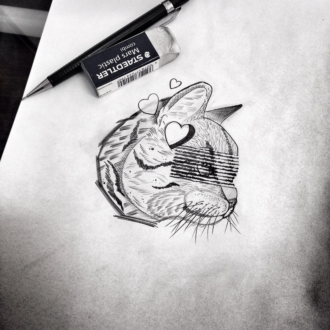 Grey cat head with heart hole and striped eyes tattoo design by Alam Vinicius