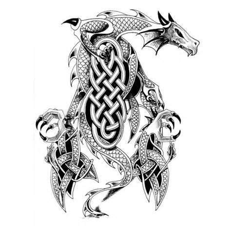 Grey celtic-patterned dragon tattoo design